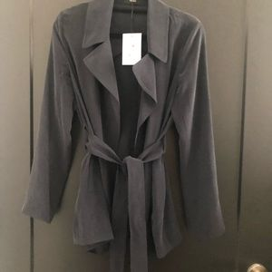 NWT!! Navy silk trench with tie